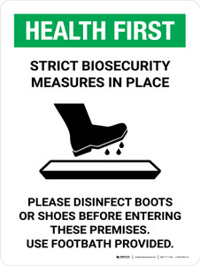 Health First: Strict Biosecurity Measures In Place with Icon Portrait - Wall Sign