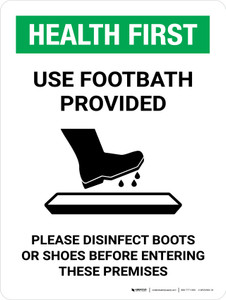 Health First: Use Footbath with Icon Portrait - Wall Sign