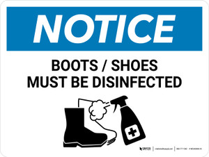 Notice: Boots/Shoes Must Be Disinfected with Icon Landscape - Wall Sign