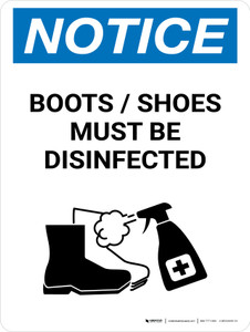 Notice: Boots/Shoes Must Be Disinfected with Icon Portrait - Wall Sign