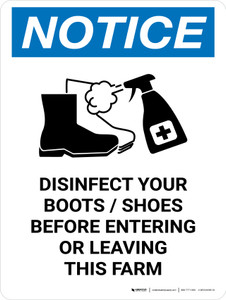 Notice: Disinfect Boots/Shoes Farm with Icon Portrait - Wall Sign