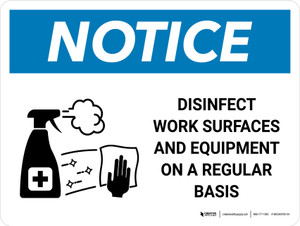 Notice: Disinfect Work Surfaces with Icon Landscape - Wall Sign