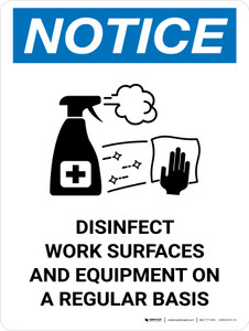 Notice: Disinfect Work Surfaces with Icon Portrait - Wall Sign
