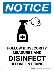 Notice: Follow Biosecurity Measures with Icon Portrait - Wall Sign