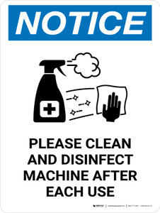 Notice: Please Clean And Disinfect Machine with Icon Portrait - Wall Sign