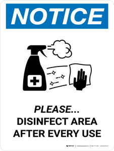 Notice: Please Disinfect Area with Icon Portrait - Wall Sign