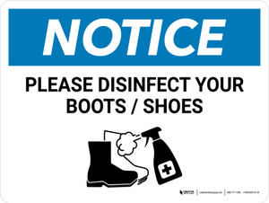 Notice: Please Disinfect Boots/Shoes with Icon Landscape - Wall Sign