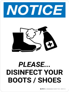 Notice: Please Disinfect Boots/Shoes with Icon Portrait - Wall Sign