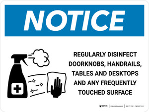 Notice: Regularly Disinfect Surfaces with Icon Landscape - Wall Sign