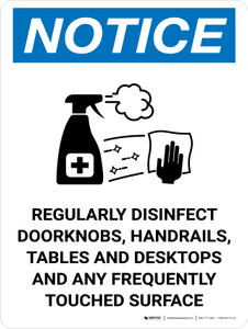 Notice: Regularly Disinfect Surfaces with Icon Portrait - Wall Sign