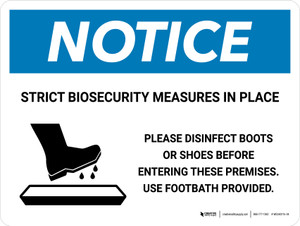 Notice: Strict Biosecurity Measures In Place with Icon Landscape - Wall Sign