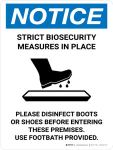 Notice: Strict Biosecurity Measures In Place with Icon Portrait - Wall Sign