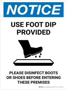 Notice: Use Foot Dip with Icon Portrait - Wall Sign