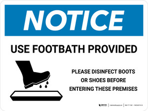 Notice: Use Footbath with Icon Landscape - Wall Sign