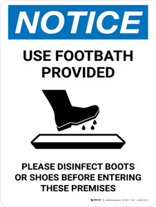Notice: Use Footbath with Icon Portrait - Wall Sign