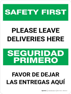 Safety First: Please Leave Deliveries Here Bilingual Portrait - Wall Sign