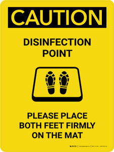 Caution: Disinfection Point with Icon Portrait - Wall Sign