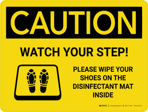 Caution: Watch Your Step Please Wipe Shoes with Icon Landscape - Wall Sign