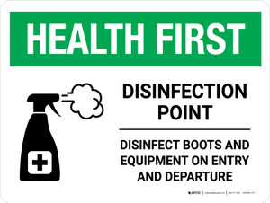 Health First: Disinfection Point with Icon Landscape - Wall Sign