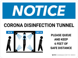 Notice: Corona Disinfection Tunnel with Icon Landscape - Wall Sign
