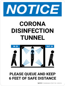 Notice: Corona Disinfection Tunnel with Icon Portrait - Wall Sign