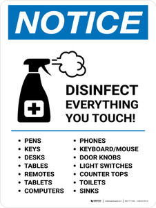 Notice: Disinfect Everything You Touch with Icon Portrait - Wall Sign