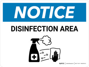 Notice: Disinfection Area with Icon Landscape - Wall Sign
