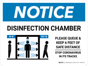 Notice: Disinfection Chamber with Icon Landscape - Wall Sign