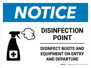 Notice: Disinfection Point with Icon Landscape - Wall Sign
