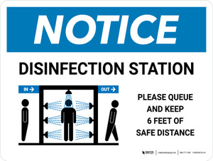 Notice: Disinfection Station with Icon Landscape - Wall Sign