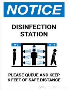 Notice: Disinfection Station with Icon Portrait - Wall Sign