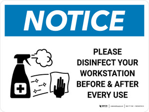 Notice: Please Disinfect Your Workstation with Icon Landscape - Wall Sign