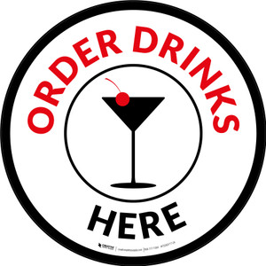 Order Drinks Here with Martini Glass Circular - Floor Sign