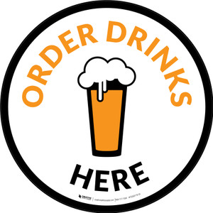 Order Drinks Here with Pint Glass Circular - Floor Sign