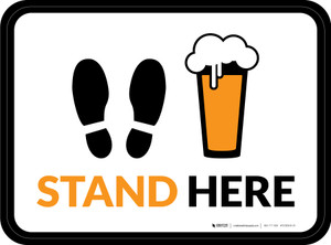 Stand Here with Pint Glass Rectangle - Floor Signs