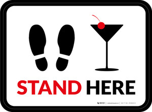 Stand Here with Martini Glass Rectangle - Floor Signs