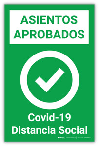 Approved Seating - Covid-19/Social Distancing Spanish - Label