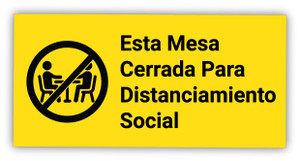 Table Closed for Social Distancing with Symbol Spanish - Label