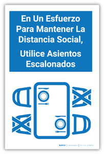 En Un Esfuerzo Para Mantener La Distancia Social, Utilice Asientos Escalonados - Label