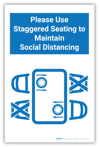 Please Use Staggered Seating to Maintain Distance - Label