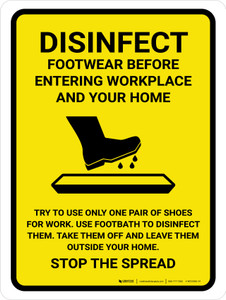 Disinfect Footwear Before Entering with Icon Yellow Portrait - Wall Sign
