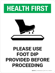 Health First Use Foot Dip Before Proceeding with Icon Portrait - Wall Sign