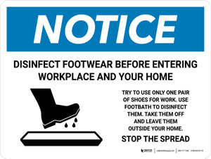 Notice Disinfect Footwear Before Entering with Icon Landscape - Wall Sign