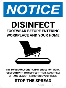 Notice Disinfect Footwear Before Entering with Icon Portrait - Wall Sign