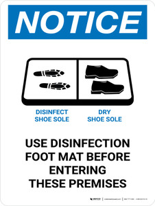 Notice Use Disinfection Foot Mat Before Entering with Icon Portrait - Wall Sign