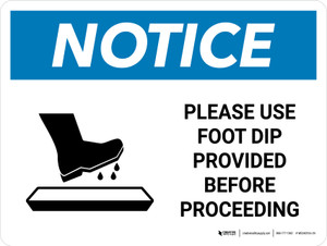 Notice Use Foot Dip Before Proceeding with Icon Landscape - Wall Sign