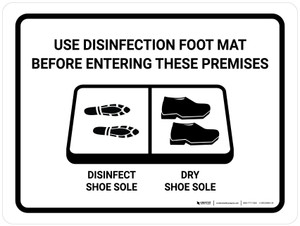 Use Disinfection Foot Mat Before Entering with Icon Landscape - Wall Sign