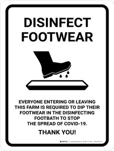 Disinfect Footwear Before Entering with Icon Portrait - Wall Sign