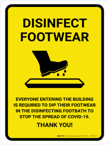 Disinfect Footwear with Icon Yellow Portrait - Wall Sign
