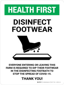 Health First Disinfect Footwear Before Entering with Icon Portrait - Wall Sign